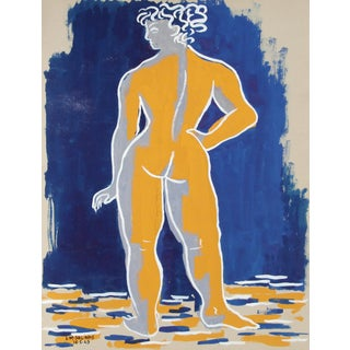 Laurent Marcel Salinas, Nude 23, Gouache on Paper, Signed For Sale
