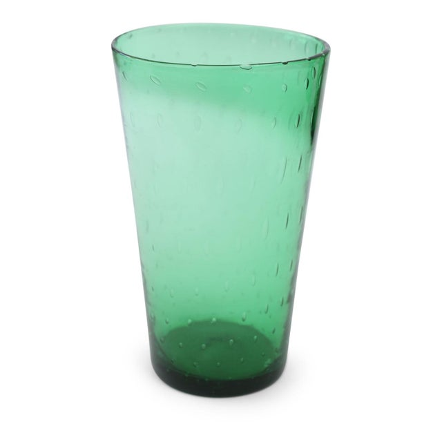 Mid-Century Modern Italian Green Glass Vase For Sale - Image 3 of 6