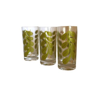 Green Leaf Design Water Glasses - Set of 8 For Sale