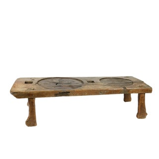 1800s French Walnut Element From a Cheese Press Reworked as a Low Table For Sale