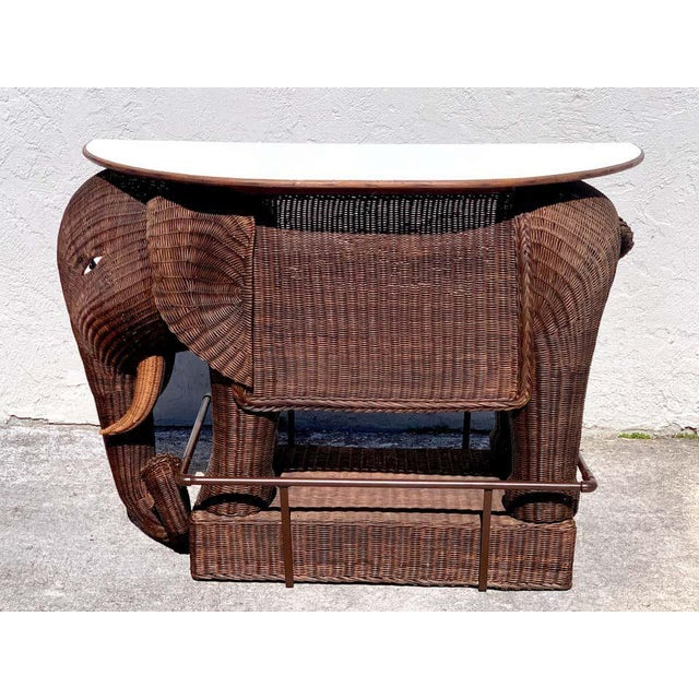 1960s Chinese Export Wicker Elephant Dry Bar For Sale - Image 13 of 13