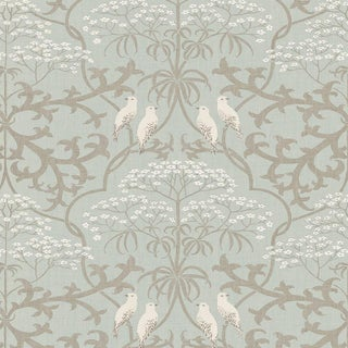 "Lewis & Wood Bella Powder Extra Wide 52"" Damask Wallpaper Sample For Sale"