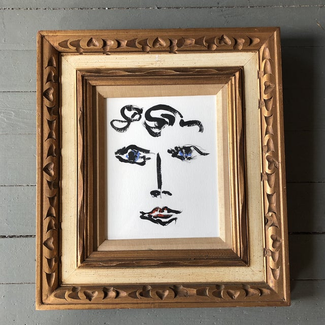 2010s Contemporary Original Female Abstract Portrait Painting Vintage Ornate Frame For Sale - Image 5 of 5