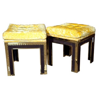 Tufted & Brass Tacked Footstools -- A Pair