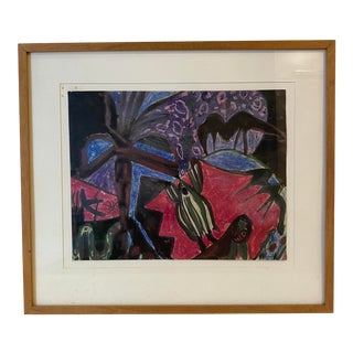 Mid-Century Surrealist Gouache Painting on Paper, Framed For Sale