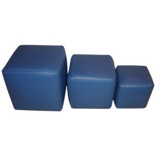 Dakota Jackson Leather Cubes - Set of 3 For Sale
