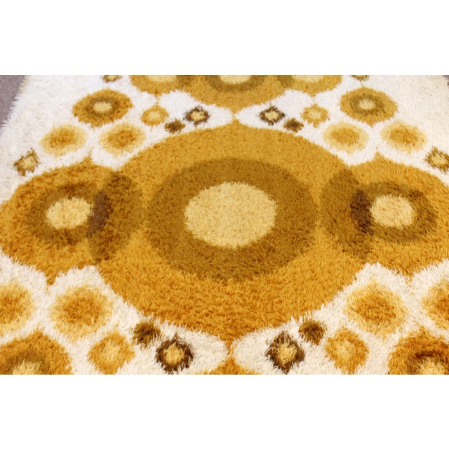 Mid-Century Modern Rya Rectangular Area Rug Carpet Orange Circles 1960s Denmark For Sale - Image 4 of 6