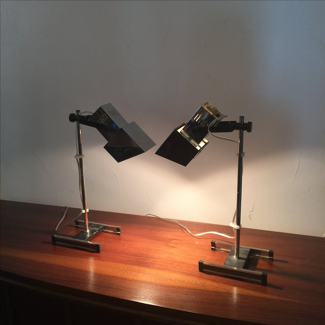 1960s Architectural Chrome Desk Lamps - A Pair - Image 3 of 8