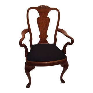1870 - 1890 Antique Queen Anne Hand Carved Walnut Arm Chairs For Sale