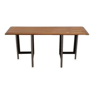 1960s Mid-Century Modern Wood and Metal Console Table For Sale