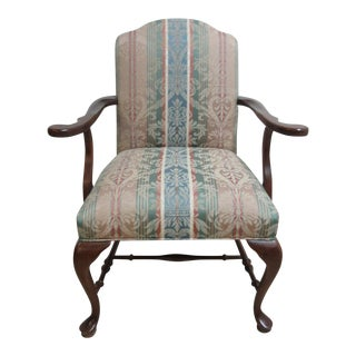Ethan Allen Georgian Court Chippendale Carved Fireside Armchair