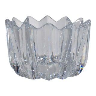 Orrefors Crystal Fleur Bowl by Jan Johansson, Signed, 1980's Ca, Sweden For Sale