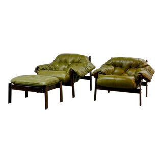 Beautiful Set of Olive Green Leather Lounge Chairs with Ottoman by Percival Lafer, 1960s For Sale