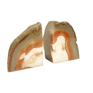 1970s Mid Century Modern Polished Stone Agate Book Ends - a Pair