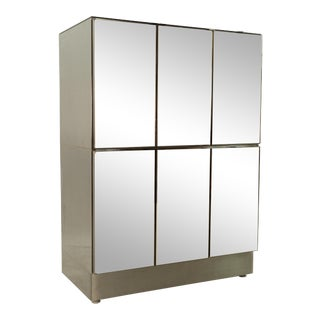 Ello Mid Century Smoke Mirrored Armoire Gentleman's Chest For Sale