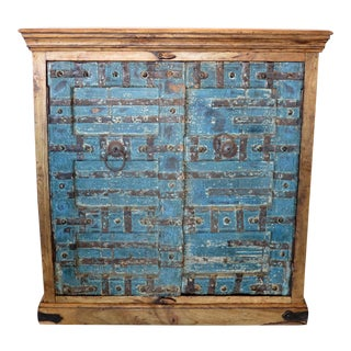 Blue Antique Carved Door Cabinet With Metal For Sale