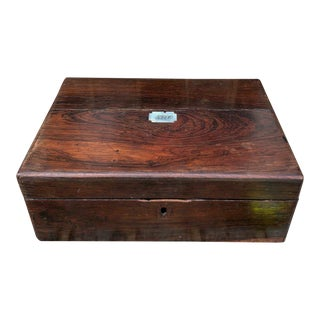 Antique Mahogany & Mother of Pearl Box For Sale