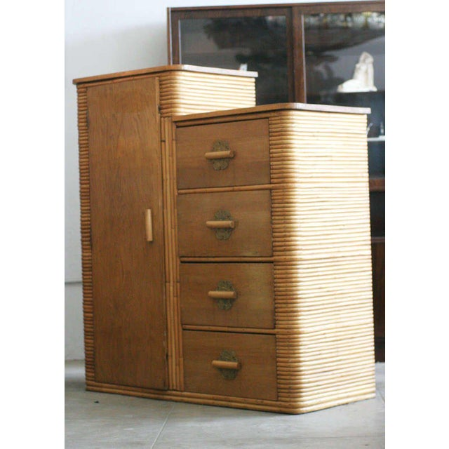 Restored Museum Quality Stacked Rattan Armoire, circa 1930 - Image 6 of 10