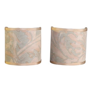 Fortuny Fabric Sconce Shades - a Pair For Sale