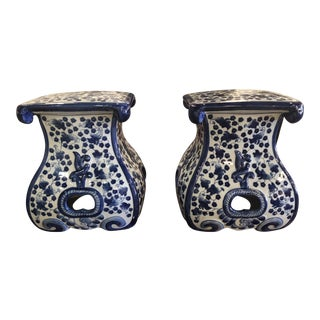 Blue & White Ceramic Garden Stools Benches -A Pair