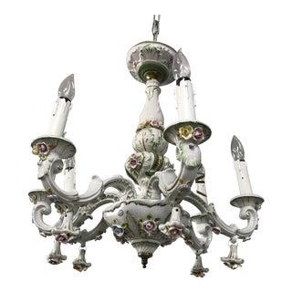 Antique 1950s French Limoges Paris Porcelain Shabby Chic 6 Arm Chandelier For Sale