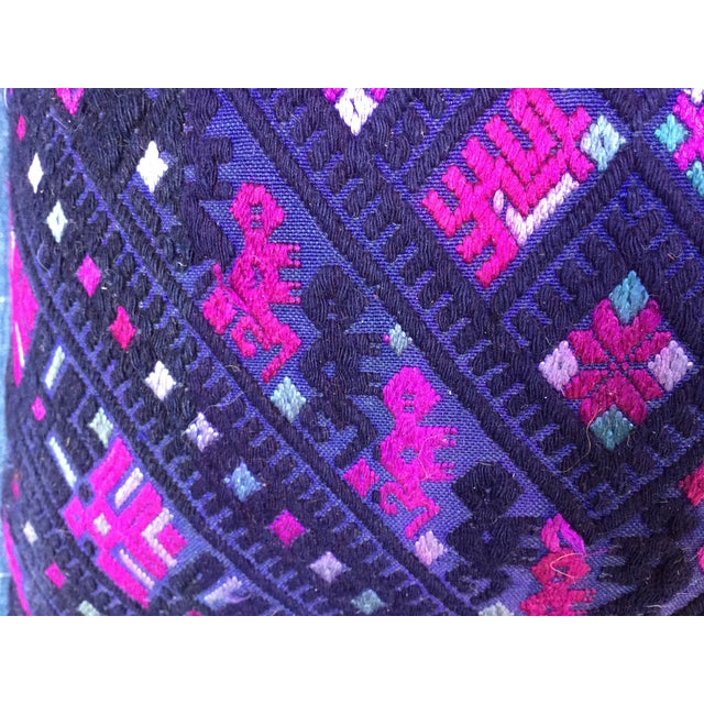 Magenta & Purple Tribal Embroidered Pillow - Image 4 of 6