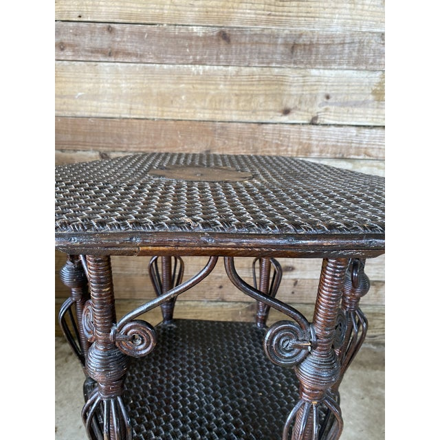 Brown Antique Victorian Heywood Wakefield Wicker Fiddlehead Table For Sale - Image 8 of 13