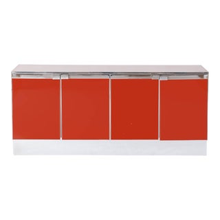 Red Lacquered and Chrome Credenza Maison Jansen For Sale