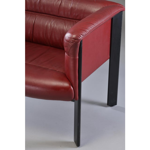 Red 1970s Poltrona Frau Mid-Century Modern Burgundy Leather Settee For Sale - Image 8 of 13