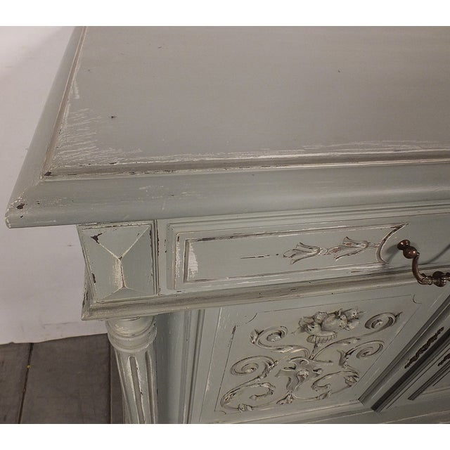 19th C. French Vintage Gray Credenza - Image 5 of 11