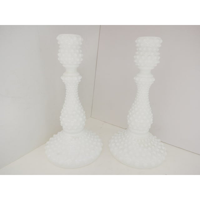 Milk Glass Hobnail Candlesticks - A Pair - Image 2 of 5