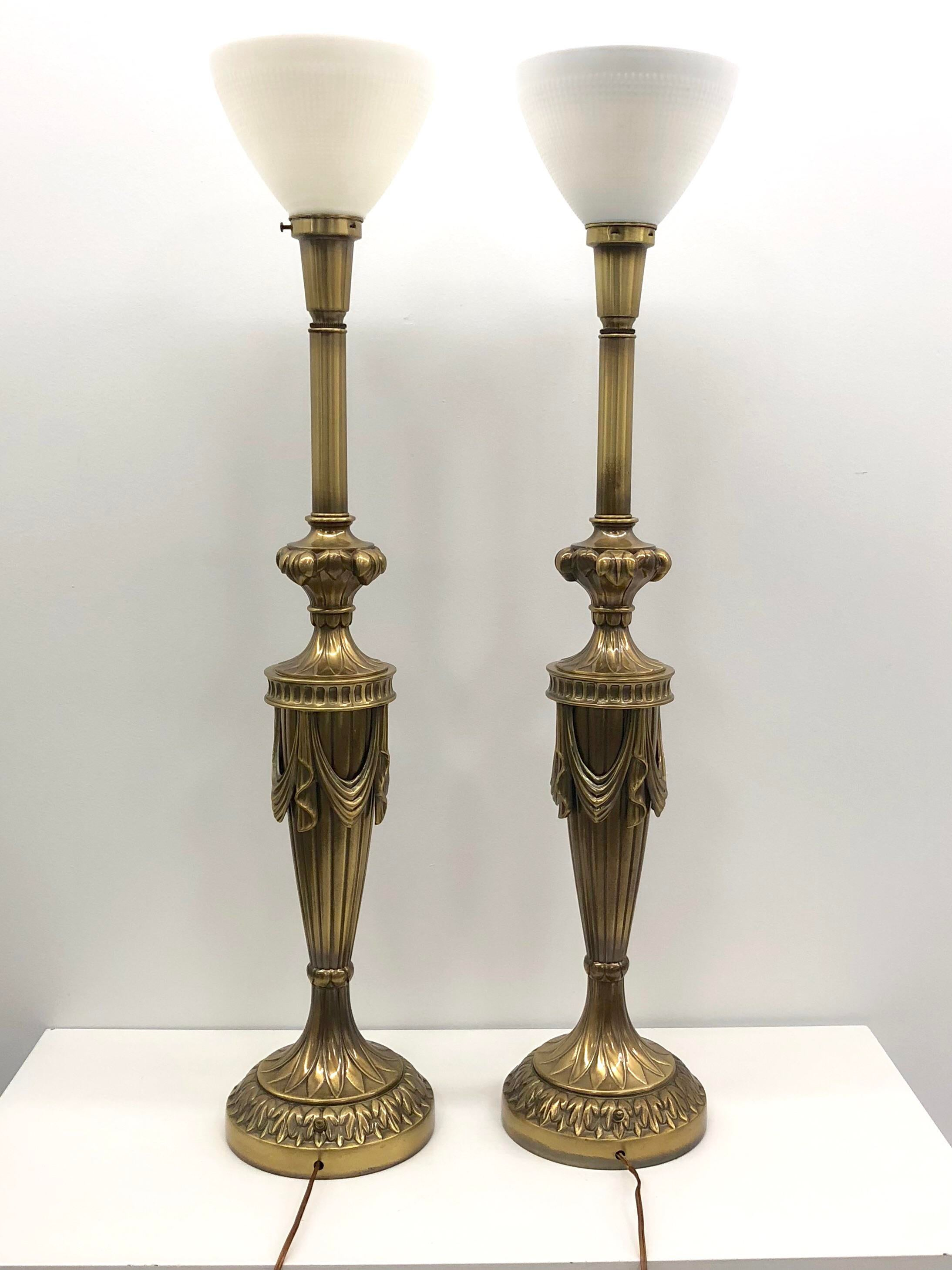 Monumental Rembrandt Brass Torchiere Table Lamps   A Pair   Image 3 Of 8