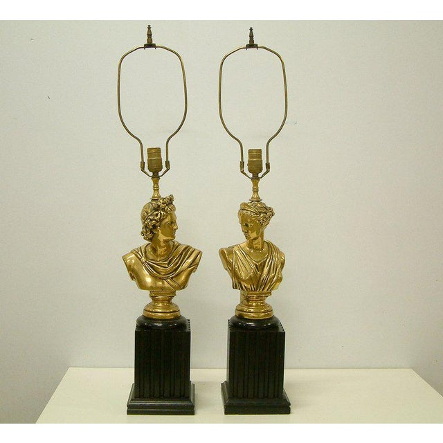 American Brass Classical Bust Lamps - A Pair For Sale - Image 3 of 8