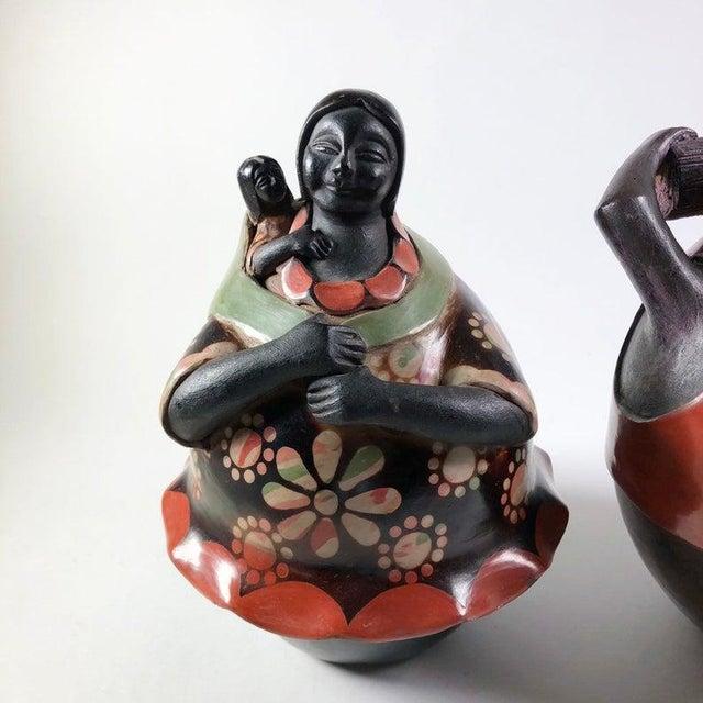 Folk Art Juan Sandoval Peruvian Folk Art Pottery Figures - a Pair For Sale - Image 3 of 6