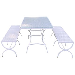 Mid Century Picnic Style Table and Benches For Sale