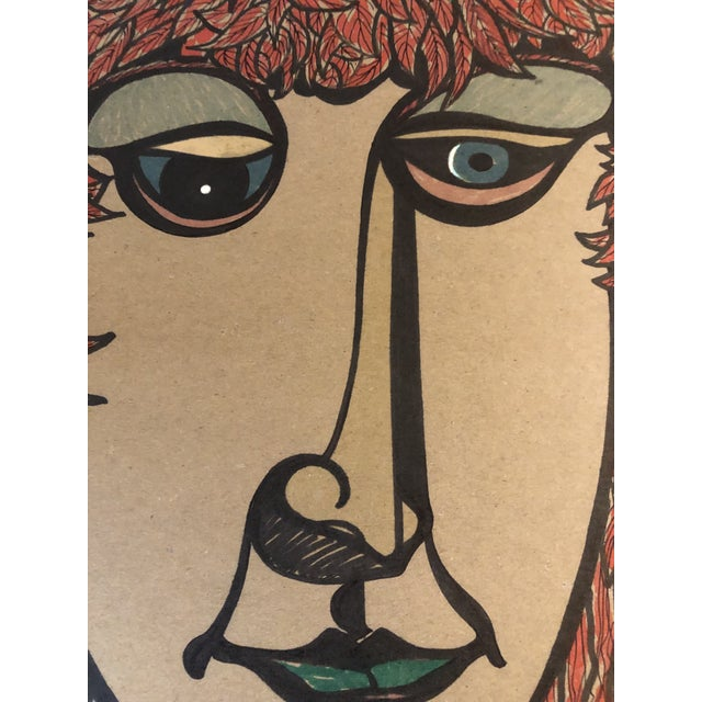 Mid-Century Modern Original Vintage Felt Marker Pop 1980's Portrait Drawing Signed For Sale - Image 3 of 5