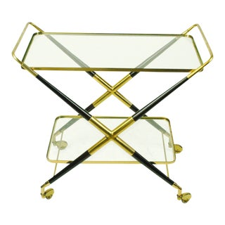 Italian Brass and Glass Serving Trolley by Cesare Lacca