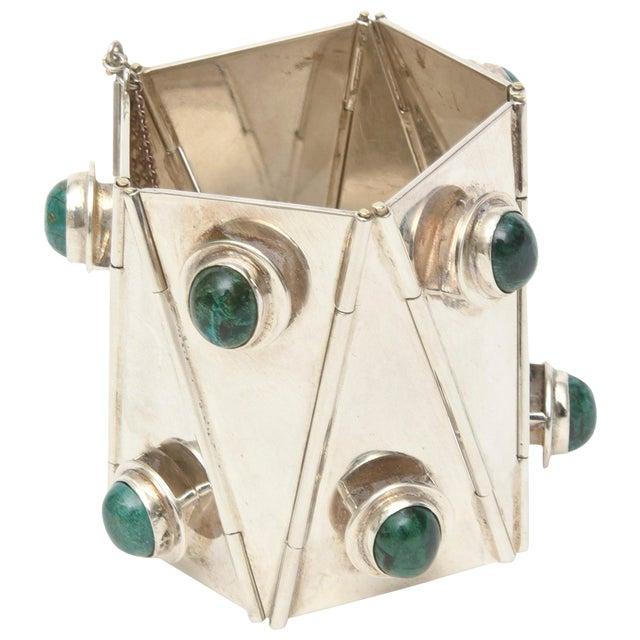 Sterling Silver & Malachite Sculptural Cuff Bracelet Vintage For Sale