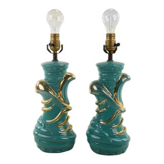 Mid-Century Modern Ceramic Table Lamps - A Pair