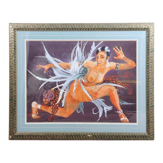 """Josephine Baker """"Fabulous""""Limited Edition 12/25 AP ArtDeco Lithograph by Mark For Sale"""