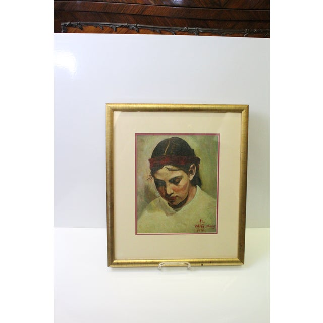 Contemporary 1970s Vintage Christopher Zhang Mimi With Red Ribbon Painting For Sale - Image 3 of 8