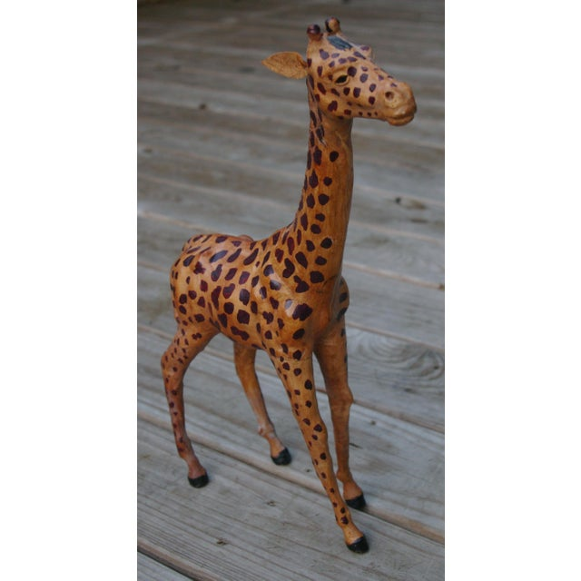 Vintage Leather Giraffe - Image 3 of 4