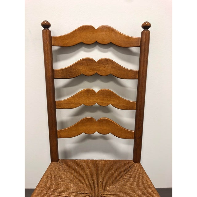 Wood Ethan Allen Ladder Back Rush Seat Dining Side Chairs - Pair 1 For Sale - Image 7 of 10