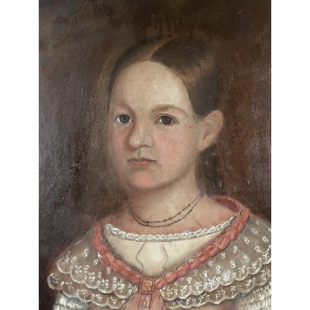 American Early 19th Century American Folk Art Portrait Oil Painting of a Girl, Framed For Sale - Image 3 of 13