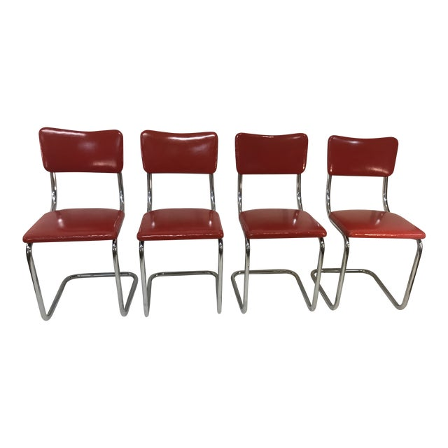 Mid Century Tubular Chrome Red Lloyd Cavalier Dining Chairs - Set of 4 For Sale