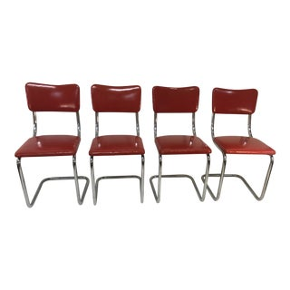 Mid Century Tubular Chrome Red Lloyd Dining Chairs - Set of 4 For Sale