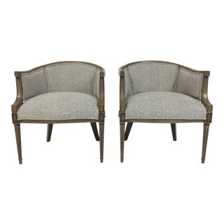 Mid-Century Barrel Linen Chairs - a Pair For Sale