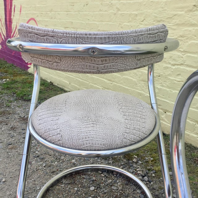 Pair of Thonet Style Faux Snake Skin & Chrome Cantilever Chairs For Sale - Image 9 of 13