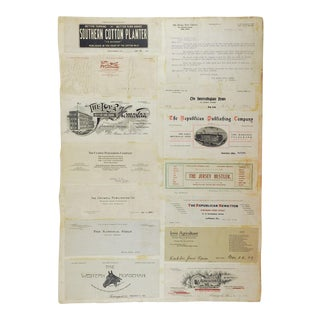 Mounted Collection of Antique Horse & Livestock Letterhead Graphics For Sale