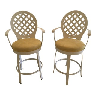 Organic Modern White Metal Barstools - a Pair For Sale